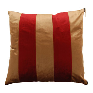 CUSHION COVER CHAMI STRIPED 45X45CM CAMEL/RED