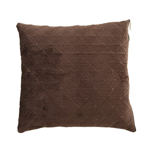 CUSHION COVER MASON QUILTED 45X45CM DARK BROWN