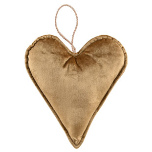 DECORATION HEART VELVET GOLD