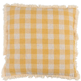 CUSHION COVER CHECKLAND 45X45CM YELLOW
