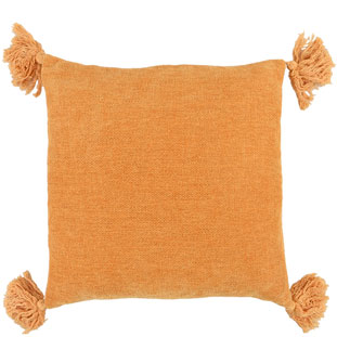CUSHION COVER TASSLE 45X45CM ORANGE