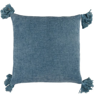 CUSHION COVER TASSLE 45X45CM BLUE
