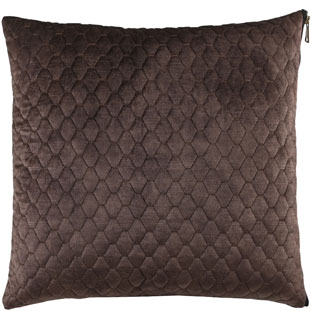 CUSHION COVER ALEGRA QUILTED 45X45CM DARK BROWN