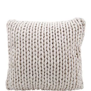 CUSHION COVER KNITTED HANDMADE 50X50CM BEIGE