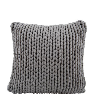 CUSHION COVER KNITTED HANDMADE 50X50 BRUN