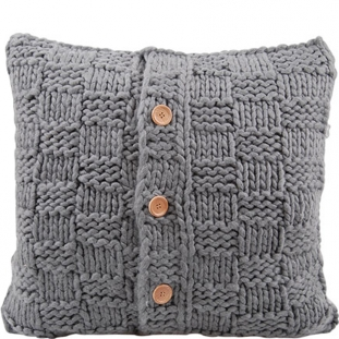 CUSHION COVER KNITTED BUTTON 50X50CM GREY