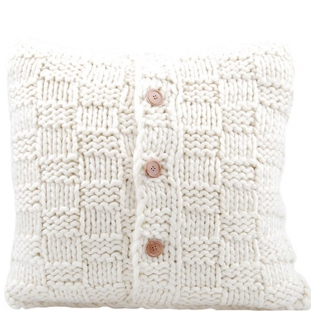 CUSHION COVER KNITTED BUTTON 50X50CM CREAM