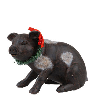 DECORATION PIG WITH  WREATH