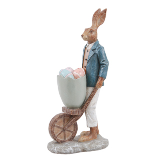 DECORATION BUNNY DAD WITH WHEELBARROW