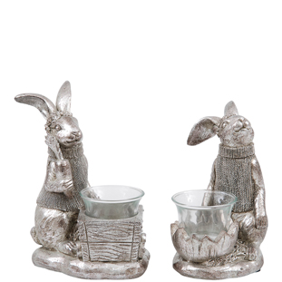 CANDLE HOLDER BUNNY SILVER 2ASS