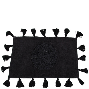 BATHMAT FRINGES BLACK