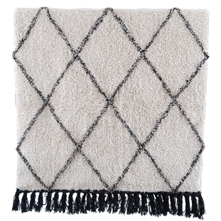 BATHMAT MENDY 70X140CM BEIGE/BLACK