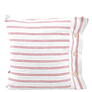 CUSHION COVER LINEN STRIPED 50 X 50 RED