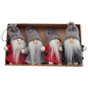 HANGING DECORATION NISSE 4/SET GREY/RED