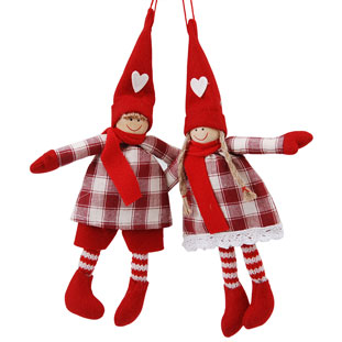 HANGING DECORATION CHRISTMAS CHILDREN CHECKED 2ASS