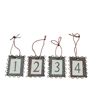 DECORATION ADVENT SIGNS 4/SET