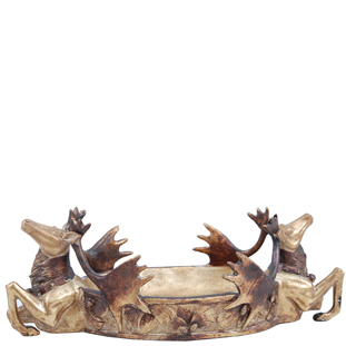 BOWL DOUBLE DEER GOLD
