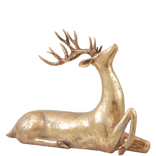DECORATION GOLDEN DEER LOOKING UP