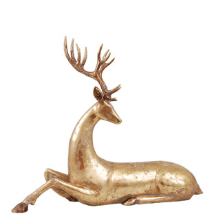 DECORATION GOLDEN DEER LOOKING DOWN