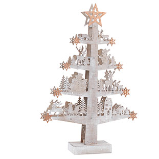 JULBELYSNING WOODEN TREE