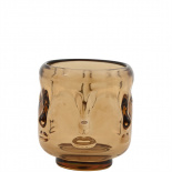 CANDLE HOLDER VISAGE SMALL AMBER