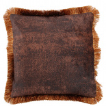 CUSHION COVER ASHBY WITH FRINGES 45X45CM BROWN